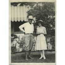 1928 Press Photo George L.Rickard, promoter with his wife at their Miami Home