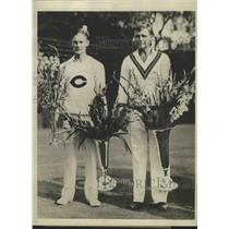 1929 Press Photo George Lott vs John Doeg at National Tennis Brookline MA