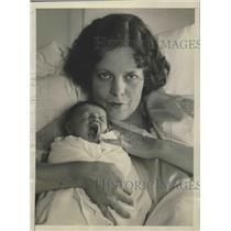 1928 Press Photo Alice Knowlton follies girl & baby Julia Ann Cock in LA