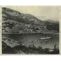1929 Press Photo View of Monaco Harbor with Monte Carlo in the Background