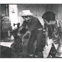 1959 Press Photo Treadle Sewing Machine