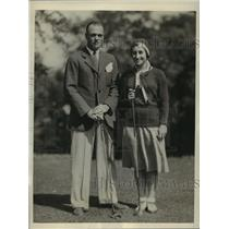 1931 Press Photo Helen Meany diver & husband Harry Balfe at golf - sbs04430