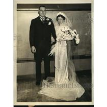 1935 Press Photo Track star Leo Sexton & bride grace O'Hara - sbs05259