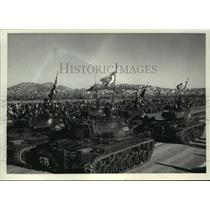 1960 Press Photo Powerful Turkish tanks rumble along a parade route in Ankara