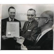 1964 Press Photo John McHale President of Milwaukee Braves Presented Certificate