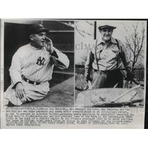 1954 Press Photo Joe McCarthy with the Yankees and later enjoying retirement