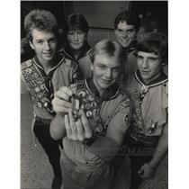 1984 Press Photo New Eagle Scouts being recognized by a Troop 837 Court of Honor