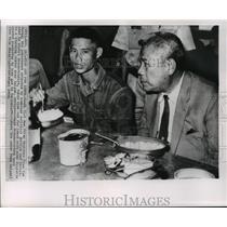 1964 Press Photo Tran Van Huong, Vietnamese Premier, with Army Recruit, Saigon