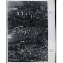 1965 Press Photo Chicago Illinois Lake Michigan Marina Packed Full of Ships