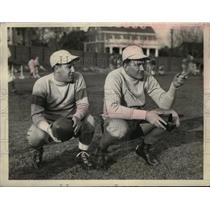 1934 Press Photo Mr. L Stevens & Albie Booth New York University Football