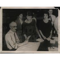 1922 Press Photo John Scott Counting AFL Railway Employees Strike Ballots