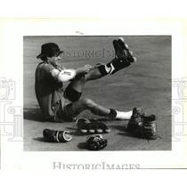 1991 Press Photo John Almy readies himself for hockey at Audubon Park.