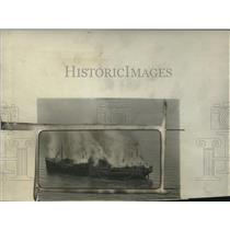 1925 Press Photo Clyde Liner Leanpe in Flames - neo17812