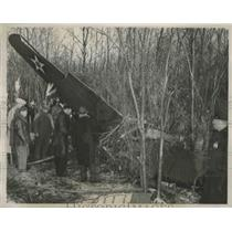 1941 Press Photo Wreckage of P-40 Army Pursuit Plane Pilot Lt Denny Killed