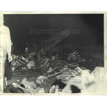 1935 Press Photo Wreck of Plane Before Bodies of 3 Were Removed Smoke Still Rise