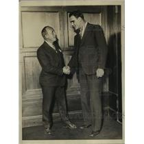1928 Press Photo Boxer Roberto Roberti Meets Humbert Fugazy Sports Promoter