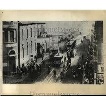 1935 Press Photo Trolley Overturned by Rioters, Revolt Against Britain, Cairo