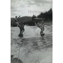 1939 Press Photo Two Pairs of Trick Waterskiers - spx18288