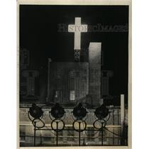 1927 Press Photo New York Sea-Ward & Sky-Ward Cross on New York Horizon NYC