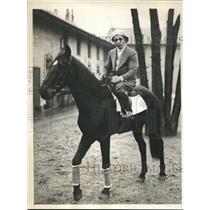 1931 Press Photo Flyweight champ Frankie Genaro tries jockey career in France