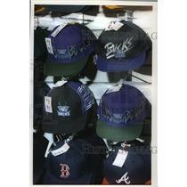 1993 Press Photo Old Style Milwaukee Bucks Hats at Merie Harmon's Fan Shop