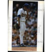 1993 Press Photo Ricky Bones of Milwaukee Brewers Disappointed  - mja67639
