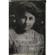 1914 Press Photo Miss Laura Van Slyke in a fringed dress - neo12748