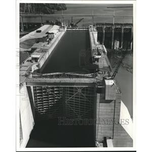 1959 Press Photo Alabama-Close-up of Wilson Dam and Lock gates being tested.