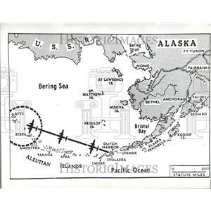 1942 Press Photo World War II Alaskan Islands Map - RRV88971