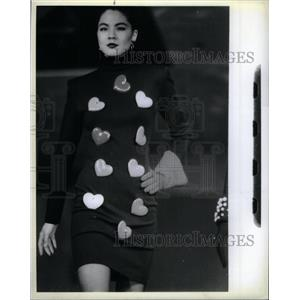 1988 Press Photo Patrick Kelly short black knit dress - RRX35757