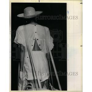 1985 Press Photo Sonia Rykiel cotton smock fly shorts - RRX35733