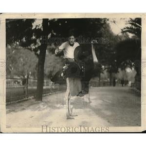 1921 Press Photo Joe Ruan Vitagraph cowboy actor on a Hollywood set