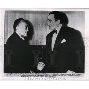 1954 Press Photo French Premier Mendes-france & Japanese Minister S Yoshida