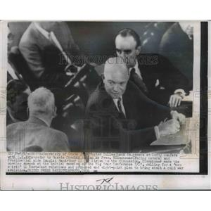 1955 Press Photo President Dwight Eisenhower, Secretary of State Dulles