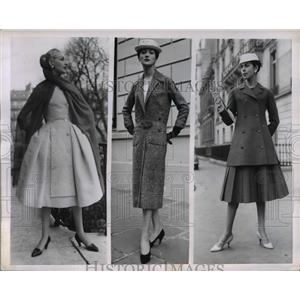 1955 Press Photo Dress by Genevieve Fath & coat by Dior at a Paris show