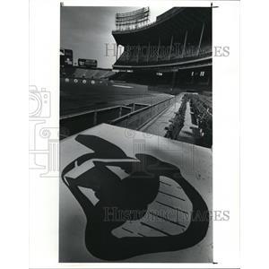 1991 Press Photo Chief Wahoo on the Indians dugout at Stadium - cva92726