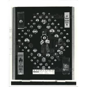 1988 Press Photo Campaign Buttons on display at Western Reserve Historical Soc