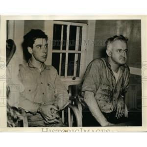 1942 Press Photo Capt Paul Hoffman Browne & Kenneth Maynard rescued from tanker