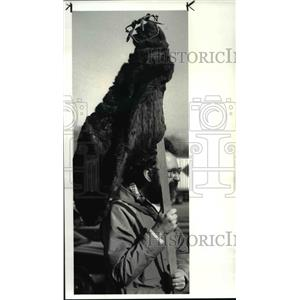 1986 Press Photo A group of animal rights activists protested in front of the