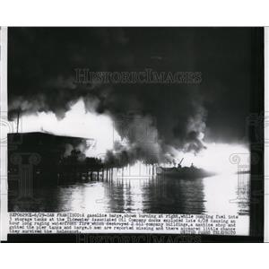 1956 Press Photo Gasoline Barge burning at the Tidewater Associates Oil Company