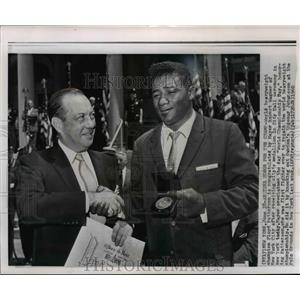 1960 Press Photo Mayor of New York Robert Wagner and Boxer Floyd Patterson