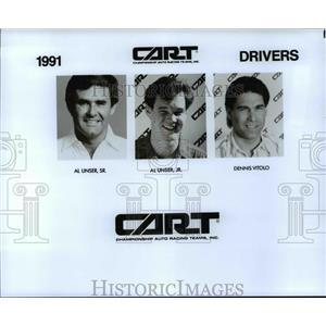 1991 Press Photo Cart drivers-Al Unser Sr., Al Unser Jr., Dennis Vitolo