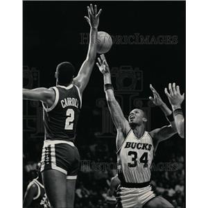 1986 Press Photo Joe Barry Carroll of the Golden State Warriors - mjs02478