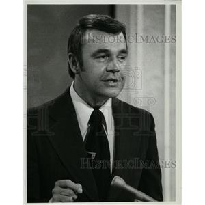 1973 Press Photo Dick Enberg works seven days a week as sportscaster and host
