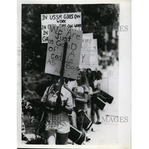 Press Photo Girls Protesting They are Good As Boys Are