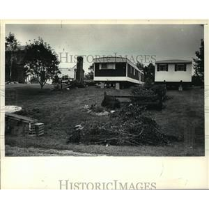 1987 Press Photo Mobile homes destroyed by tornadoe hit in Wales - mja19151