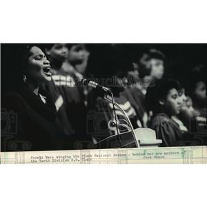 1985 Press Photo Pamela Ware sang the Black National Anthem tribute to Dr King