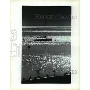 1983 Press Photo A sailboat was moored at the South Shore Yacht Club basin.