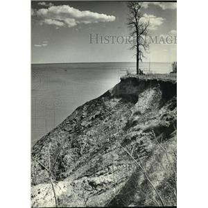 1984 Press Photo couple sitting under tree on eroding bluff near Port Washington