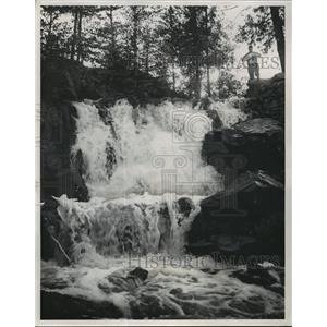 1955 Press Photo The Little Falls of the Thunder River in Marinette County